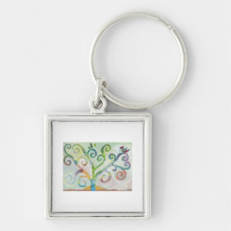 Colorful Tree of Life Silver-Colored Square Keychain