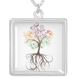Colorful Tree With Roots Necklace necklace