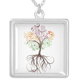Colorful Tree With Roots Necklace
