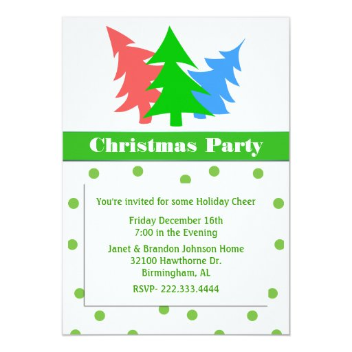 Colorful Trees Custom Christmas Party Invitation