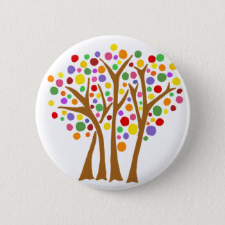 Colorful Trees Nature Abstract Pinback Button