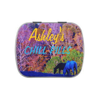 Colorful  Trees W / Horses : Teal blue Name Candy Tins