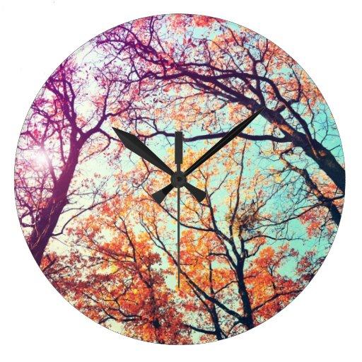 Colorful trees wall clocks