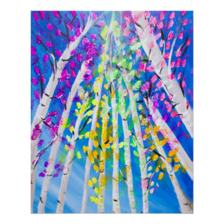 Colorful Trees with Neon Leaves Painting Poster