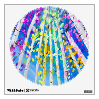 Colorful Trees with Neon Leaves Painting Wall Sticker