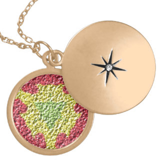 Colorful trendy abstract art round locket necklace