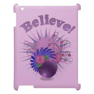 Colorful Trendy Abstract Design Flowers 'Believe' iPad Case