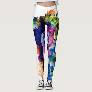 Colorful Trendy Abstract Watercolor Paint Splatter Leggings