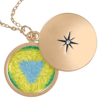 Colorful trendy art round locket necklace