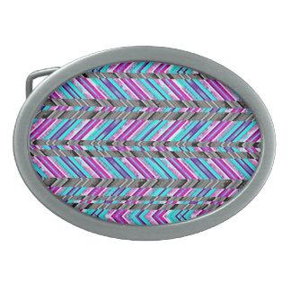 Colorful Trendy Chevron Zig Zag Geometric Pattern Oval Belt Buckles
