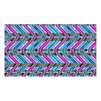 Colorful Trendy Chevron Zig Zag Geometric Pattern Business Card