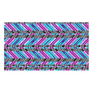 Colorful Trendy Chevron Zig Zag Geometric Pattern Business Card Template