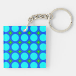Colorful trendy circle pattern Double-Sided square acrylic keychain