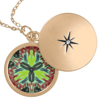 Colorful trendy pattern round locket necklace