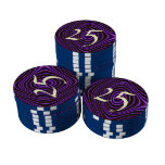 Colorful trendy pattern set of poker chips