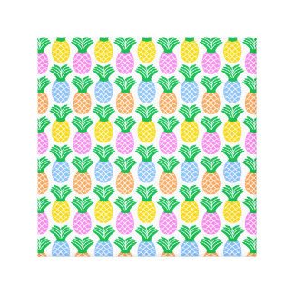 Colorful Trendy Pineapple Pattern Canvas Print