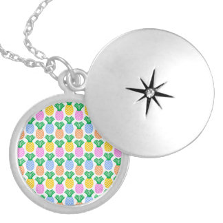 Colorful Trendy Pineapple Pattern Locket Necklace