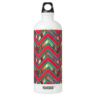 Colorful Trendy Psychedelic Zig Zag Water Bottle