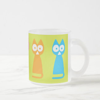 Colorful Triangle Cat Frosted Glass Coffee Mug