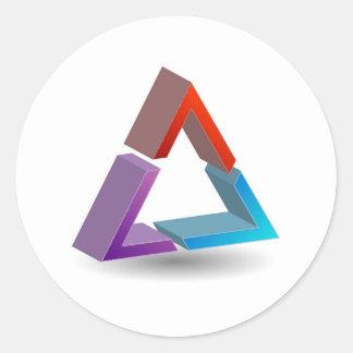 Colorful triangle classic round sticker