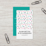 """Colorful Triangle Confetti Pattern Business Card<br><div class=""""desc"""">A fun, colorful, but yet professional vertical business card, featuring a pattern of scattered triangles, with white space in bottom third of the card giving name and service details. The reverse side has a fun teal background, with business and contact details in white modern font. This design is great for...</div>"""