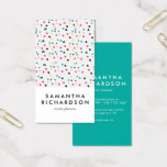 "Colorful Triangle Confetti Pattern Business Card<br><div class=""desc"">A fun, colorful, but yet professional vertical business card, featuring a pattern of scattered triangles, with white space in bottom third of the card giving name and service details. The reverse side has a fun teal background, with business and contact details in white modern font. This design is great for...</div>"