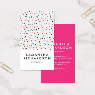 Colorful Triangle Confetti Pattern Business Card