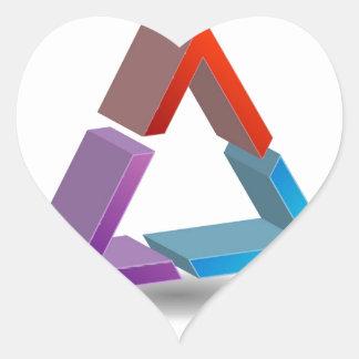 Colorful triangle heart sticker