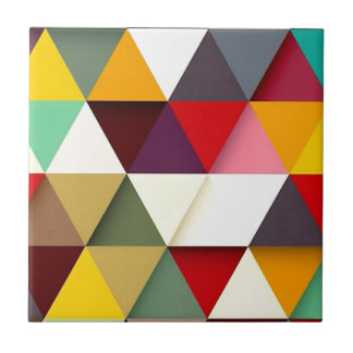 Colorful triangle mash-up ceramic tile