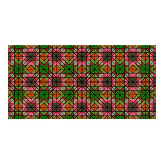 Colorful triangle mosaic pattern card