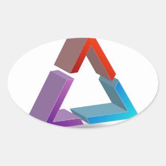 Colorful triangle oval sticker