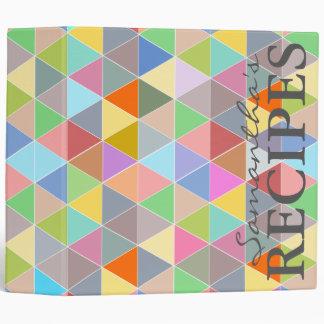 Colorful triangle pattern recipe binder book