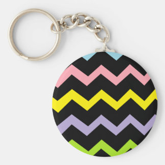 Colorful Triangle Waves Basic Round Button Keychain