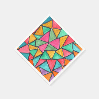 Colorful Triangles - abstract watercolor design Paper Napkin