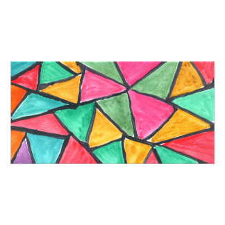 Colorful Triangles - abstract watercolor design Custom Photo Card