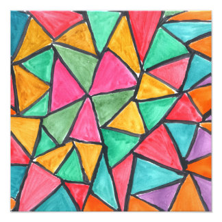 Colorful Triangles - abstract watercolor design Photo Print