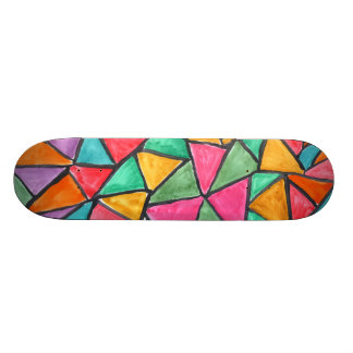 Colorful Triangles - abstract watercolor design Skateboard Deck