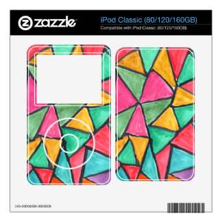 Colorful Triangles - abstract watercolor design iPod Classic Decal