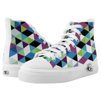 Colorful Triangles Modern Geometric Pattern Printed Shoes