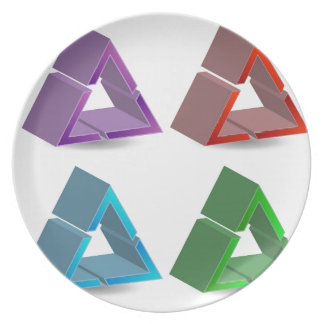 Colorful triangles dinner plates