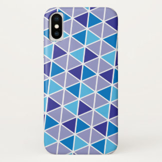 Colorful triangles tessellation in cool blue iPhone x case