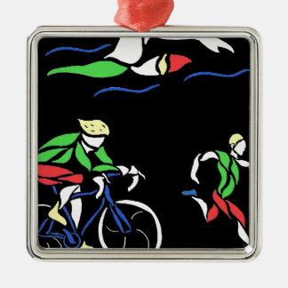 Colorful Triathlon Design Metal Ornament