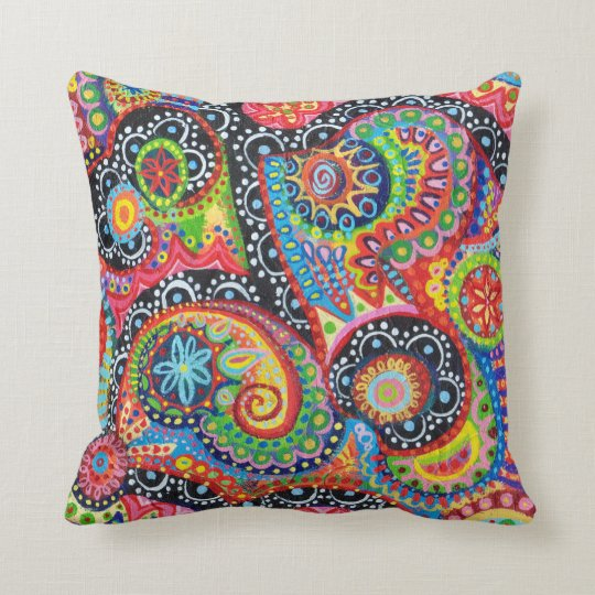 Colorful Tribal Abstract Art Pillow