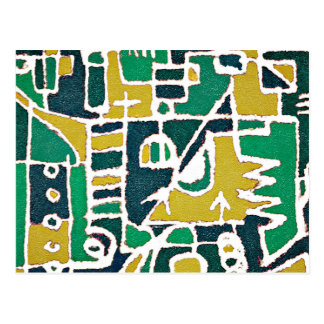 Colorful Tribal Abstract Pattern Print Postcard