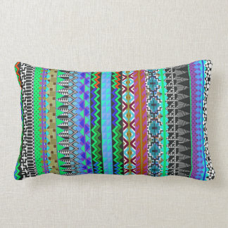 Colorful Tribal Aztec Pattern Blue Pillows