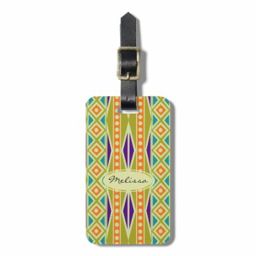 Aztec Themed Colorful Tribal Aztec Style Personalized Luggage Tag