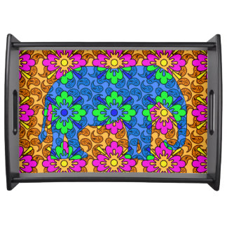 Colorful Tribal Elephant Serving Tray