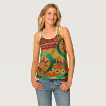 Colorful Tribal Ethnic  Pattern Embossed Leather Tank Top