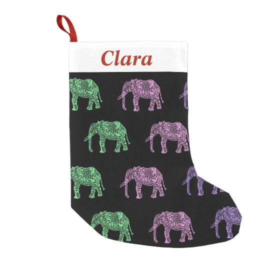 colorful tribal floral boho elephant pattern small christmas stocking