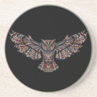 Colorful Tribal Flying Owl Drink Coaster